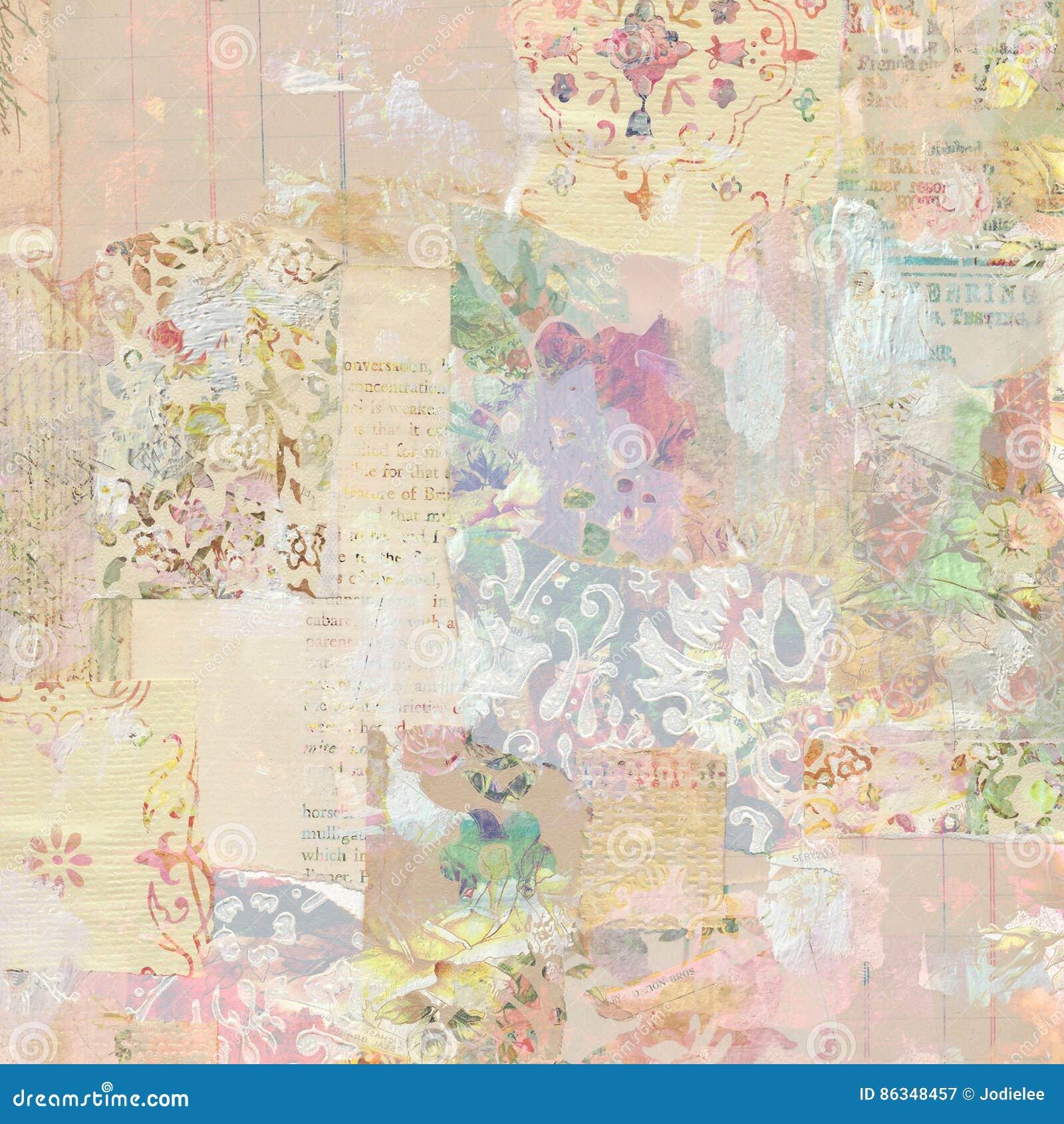 脏的古色古香的葡萄酒花卉墙纸拼贴画背景
