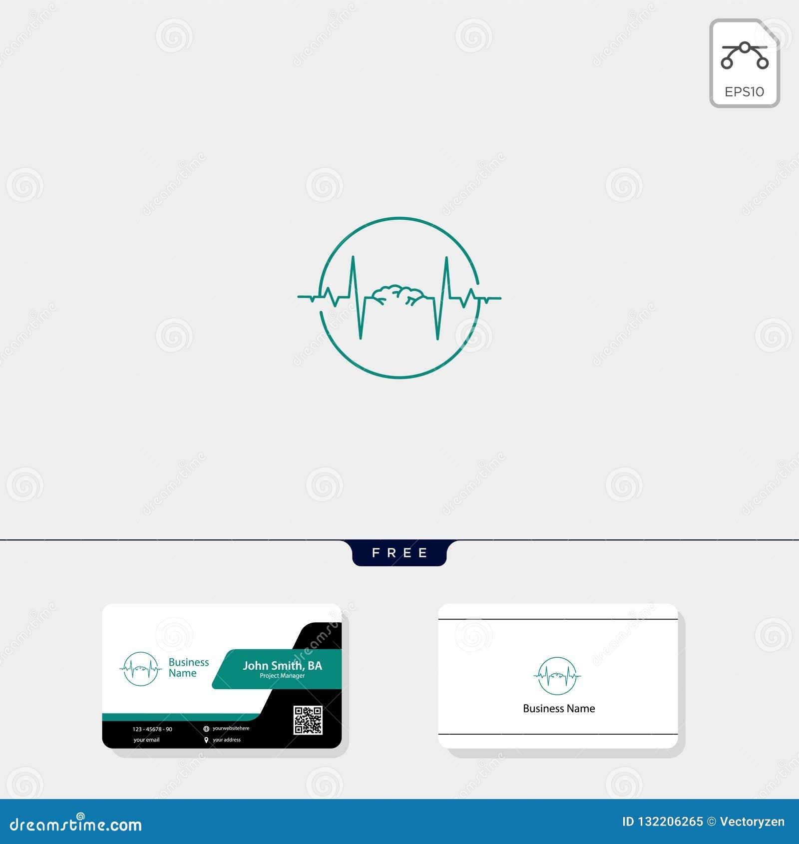 脑子和电波概念商标模板传染媒介例证,自由名片设计