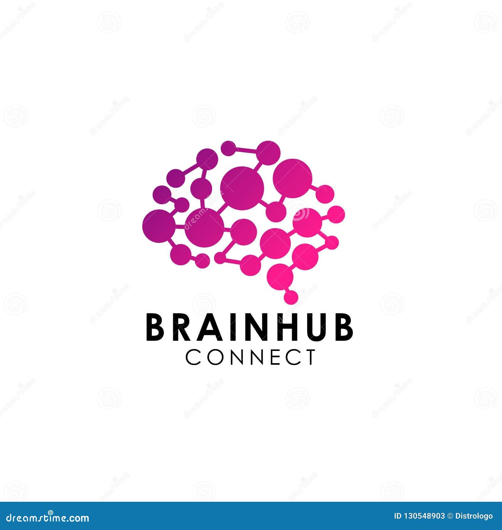 脑子连接商标传染媒介象 数字式脑子 脑子插孔商标