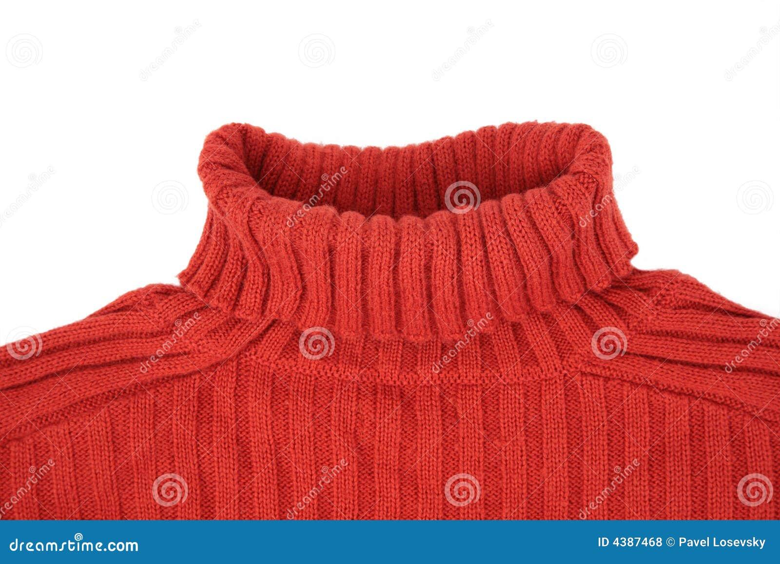 脖子红色毛线衣