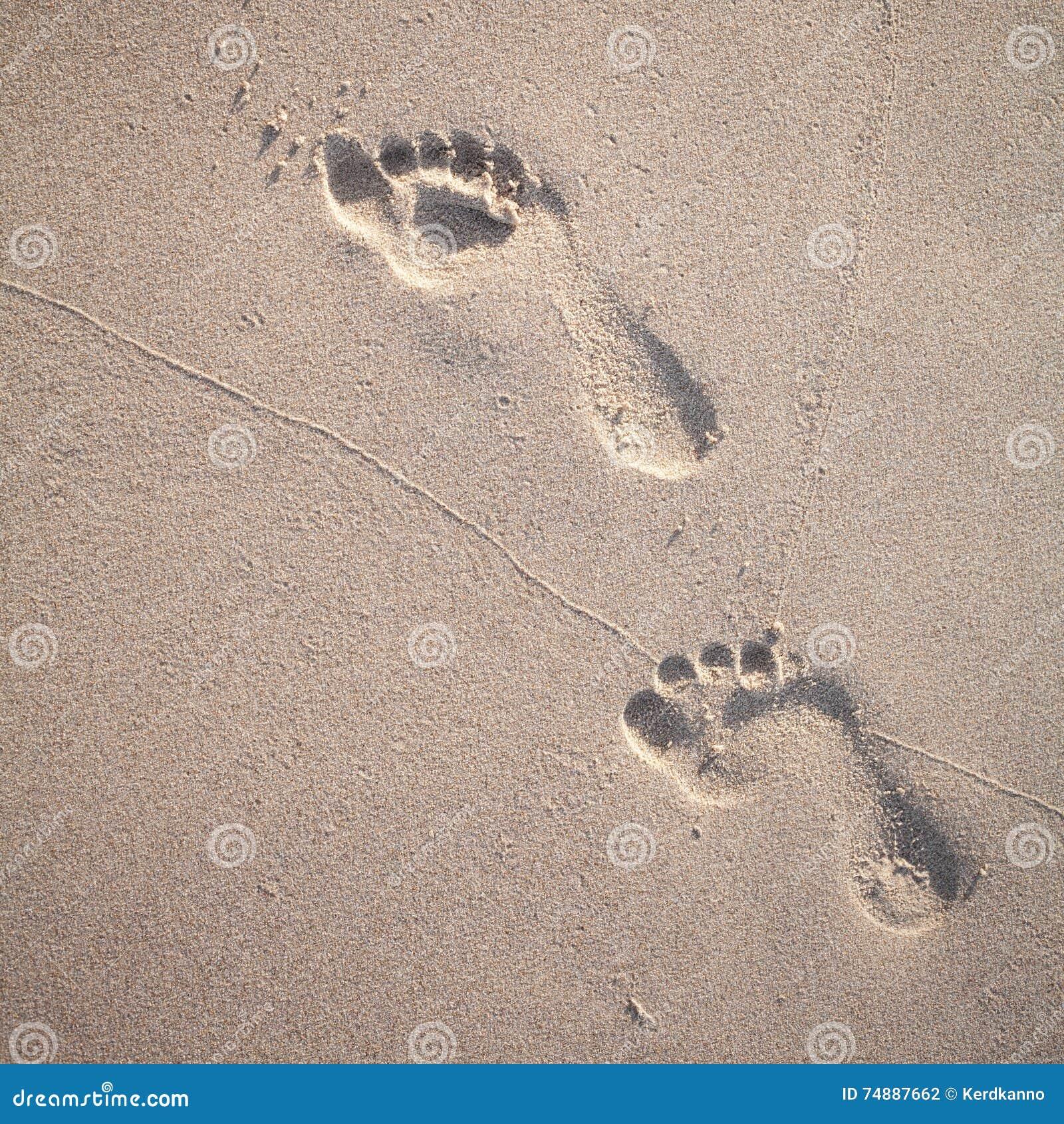 脚印软的焦点和口气在热带海滩的铺沙机智