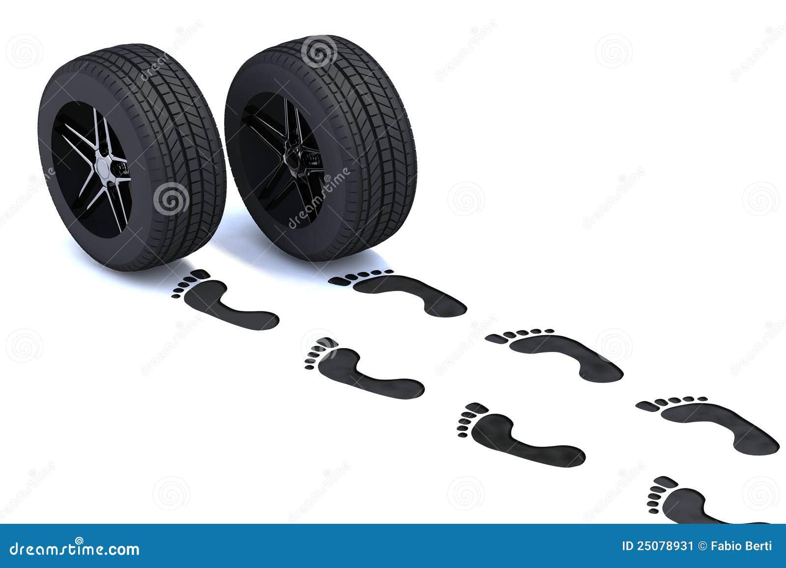 3d脚步例证轮胎走.