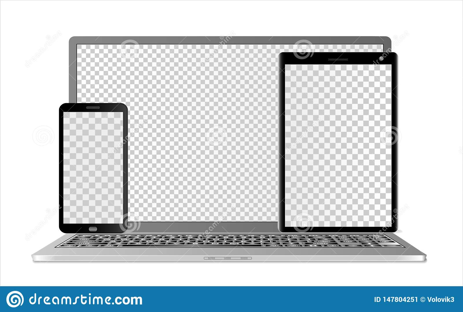 膝上型计算机、片剂计算机和智能手机的大模型有透明屏幕的用不同的层数,在白色背景