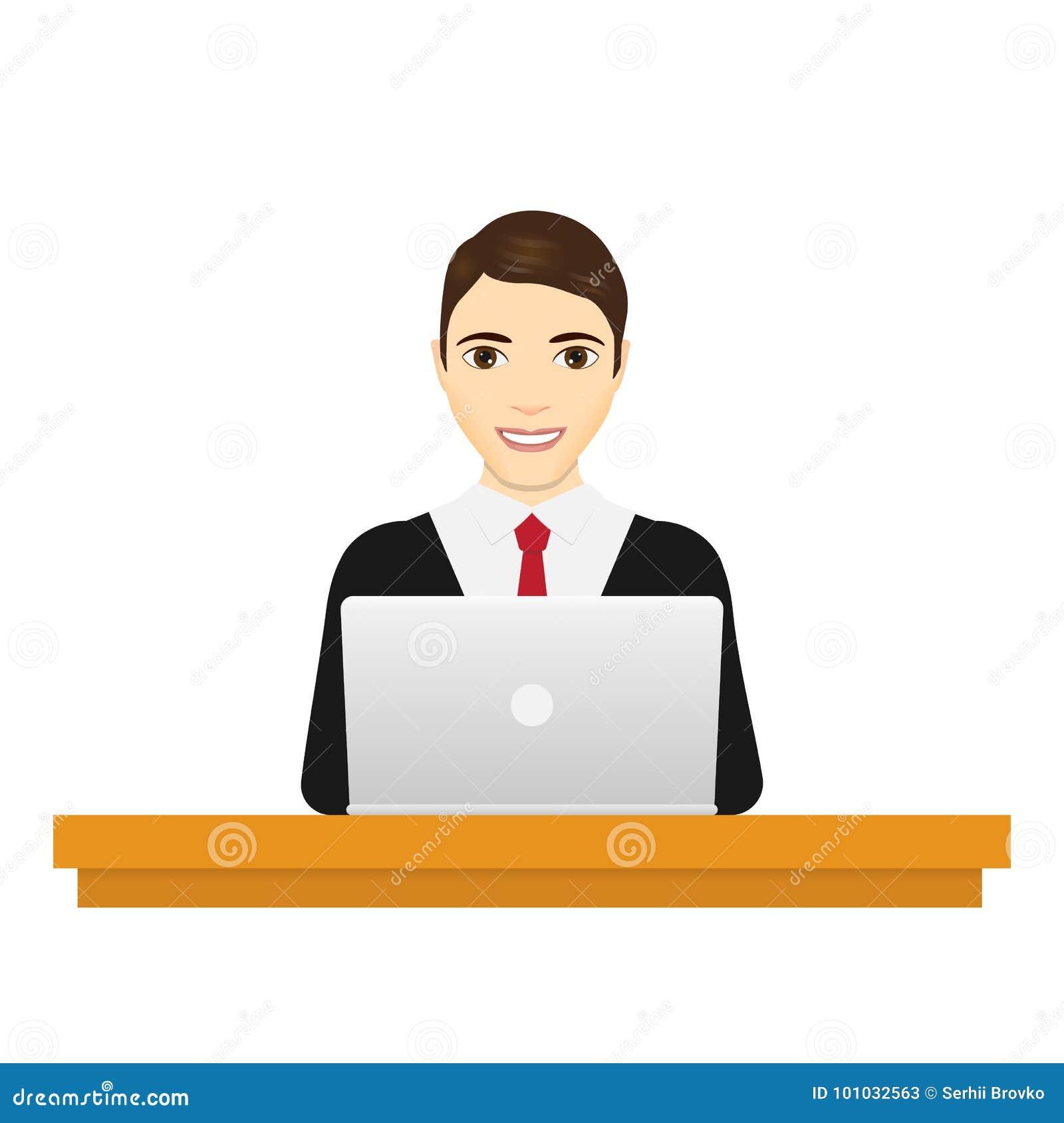 膝上型计算机人 研究便携式计算机的衣服的商人在他的办公桌 背景查出的白色 传染媒介illu