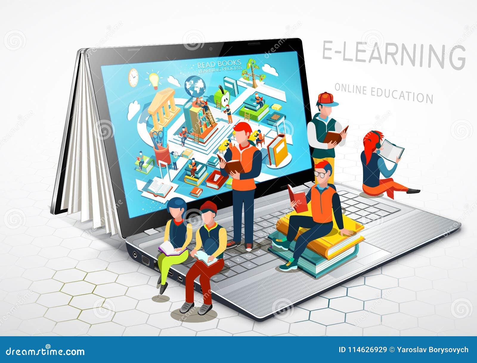 膝上型计算机作为书 苹果背景书概念仔细查出了解开放白色 在线教育 向量