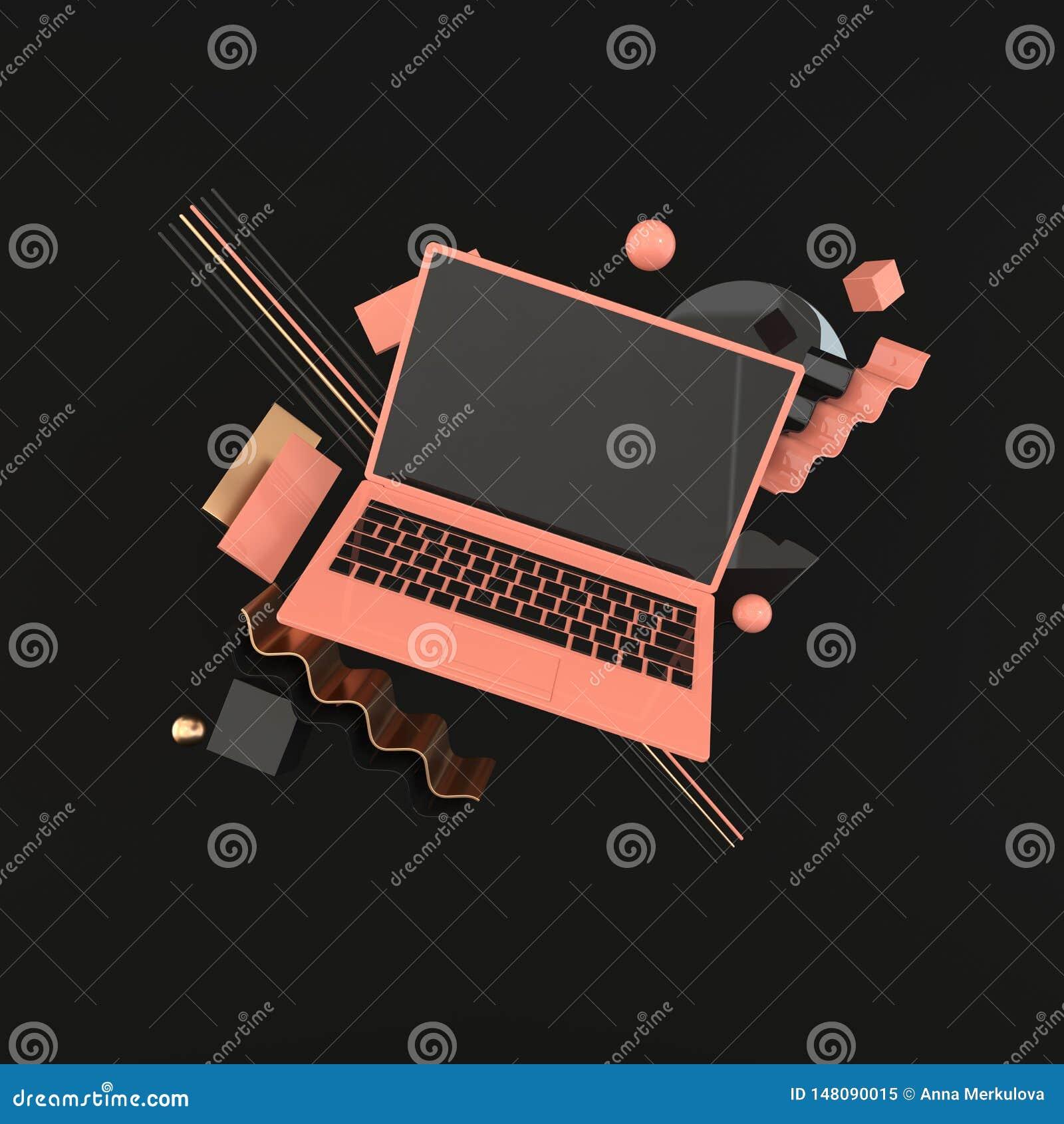 膝上型计算机和另外几何对象大模型背景在现代最小的样式 笔记本3d在淡色回报 ??