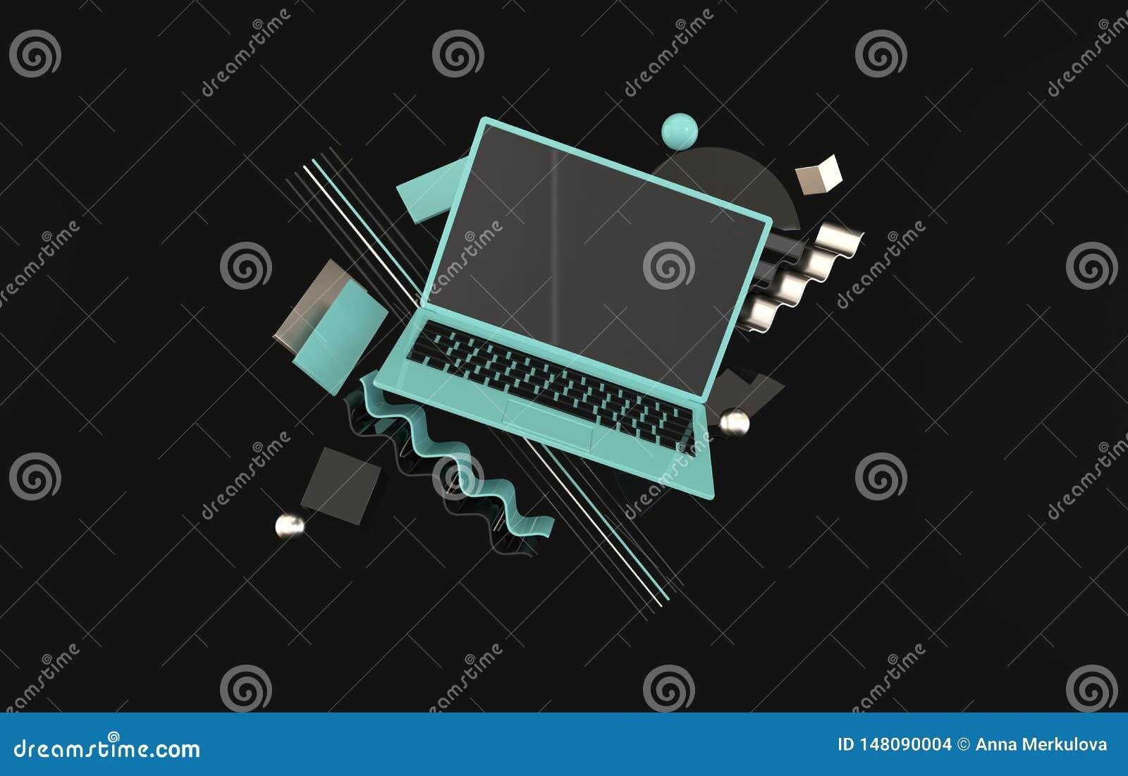 膝上型计算机和另外几何对象大模型背景在现代最小的样式 笔记本3d在黑和蓝色回报
