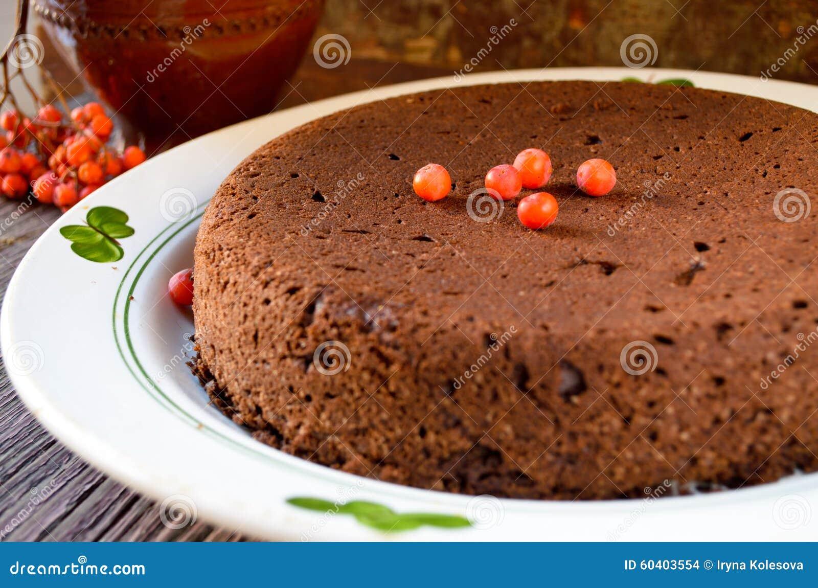 自创巧克力圣诞节蛋糕洒与糖粉末
