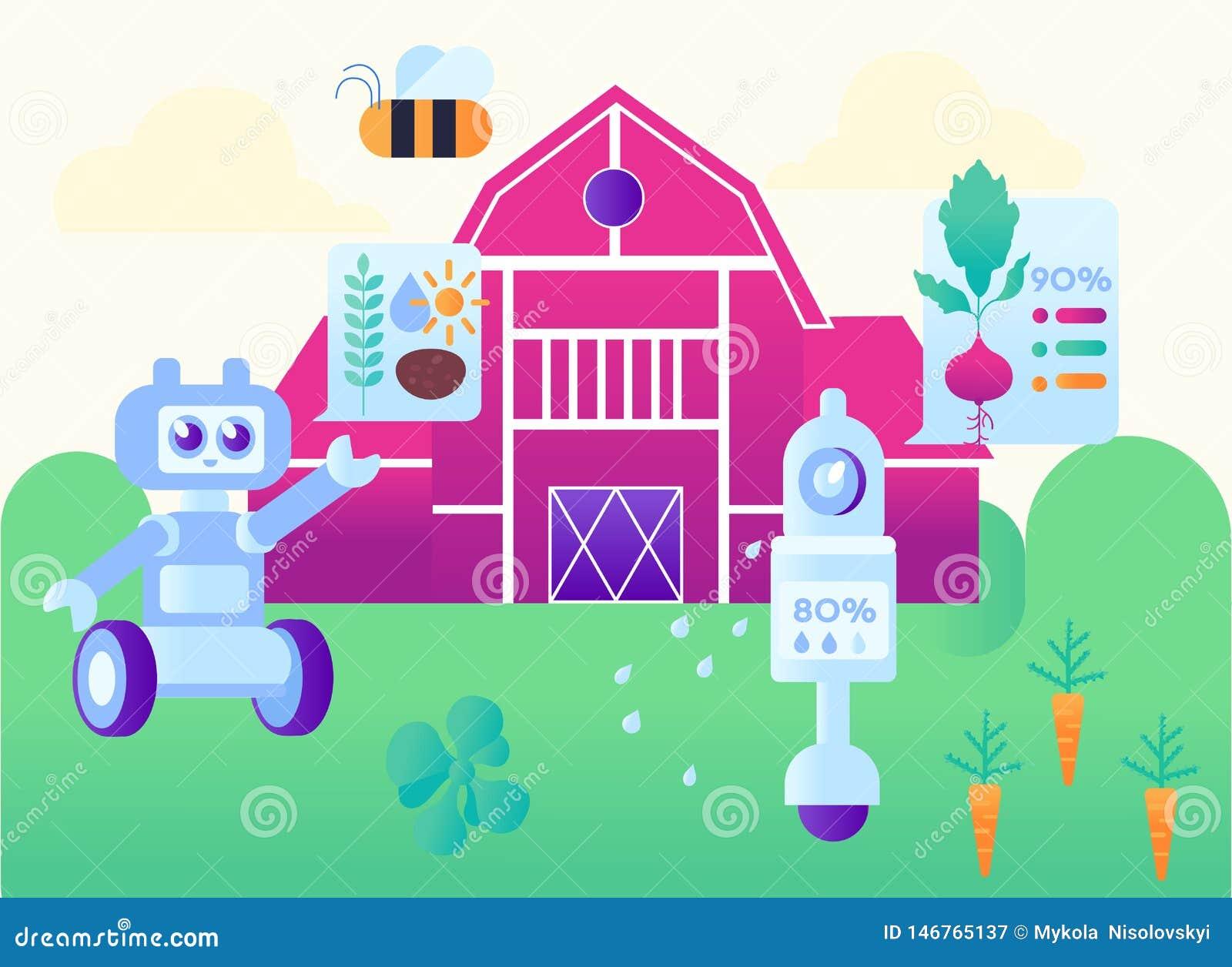 自动化现代聪明的农厂动画片例证
