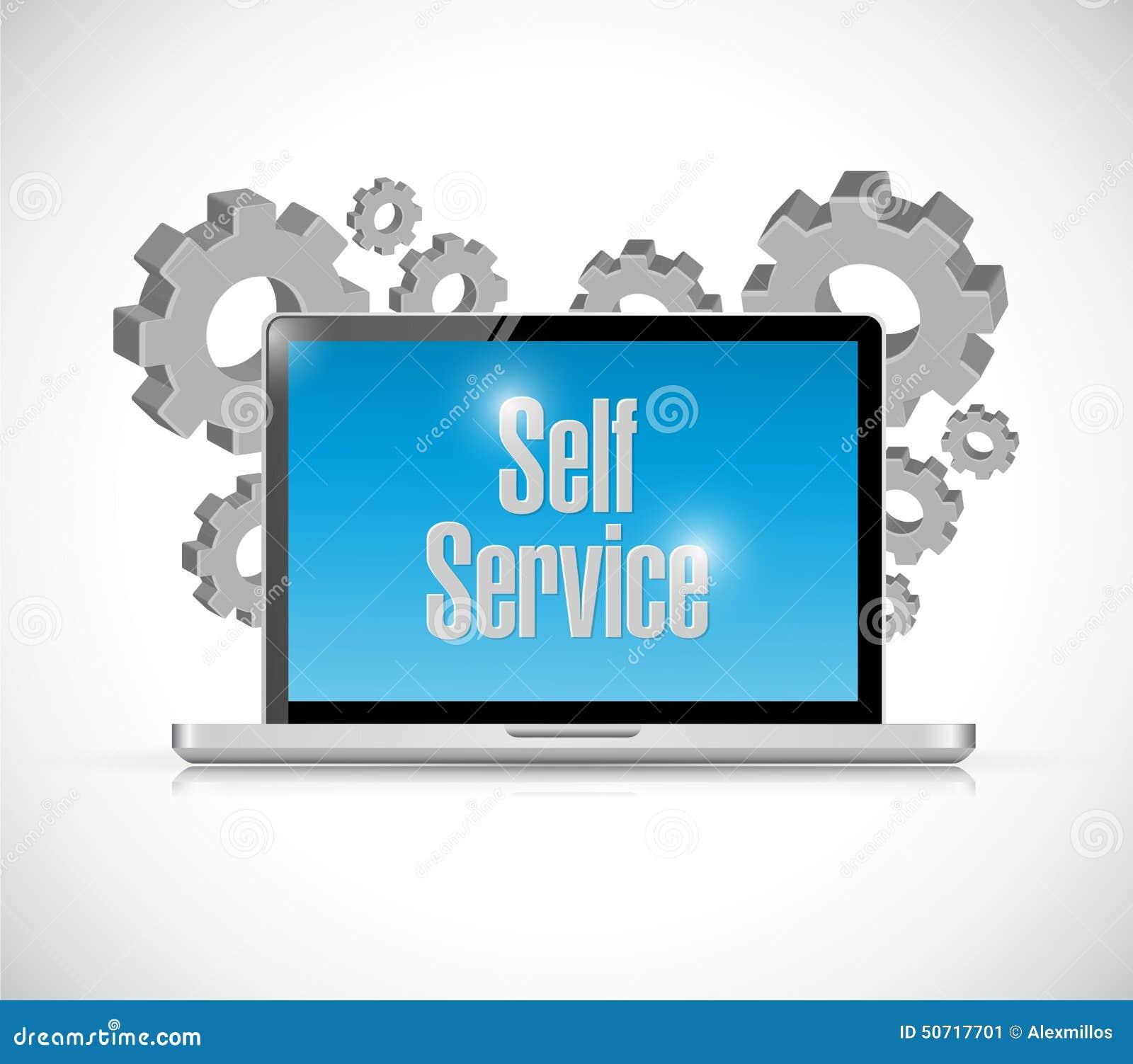 自已服务计算机科技例证