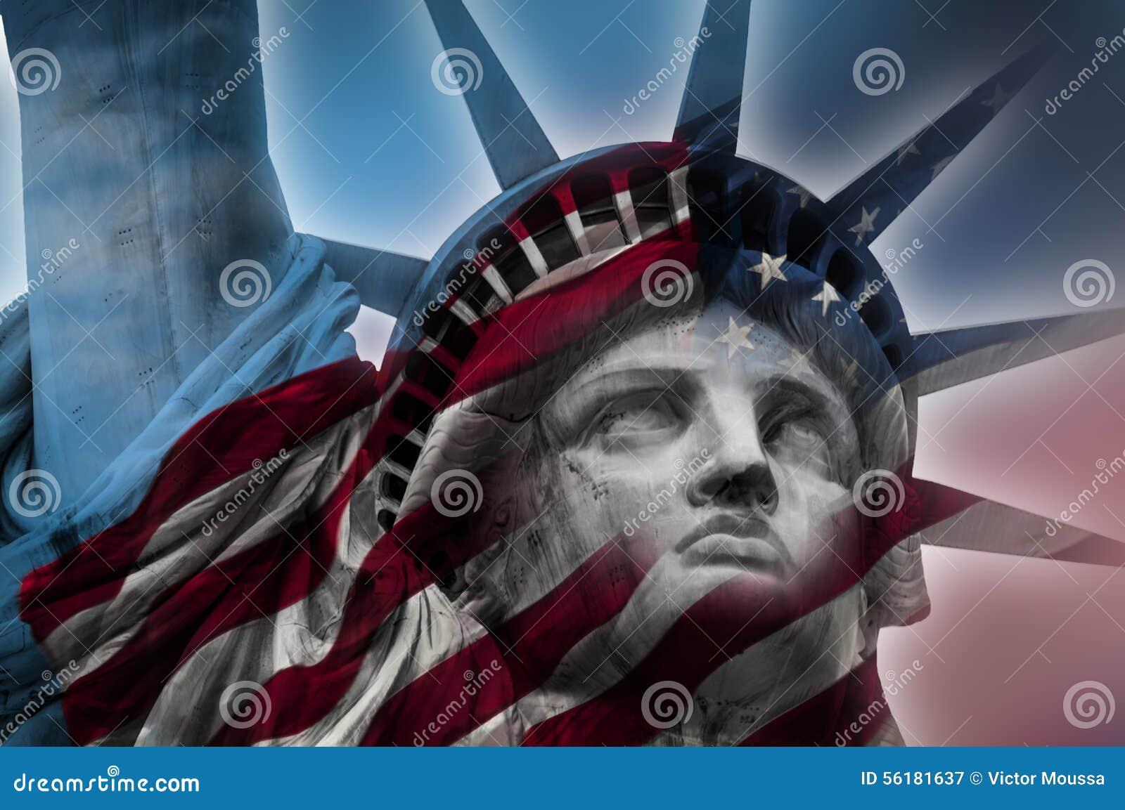 自由女神像和美国国旗
