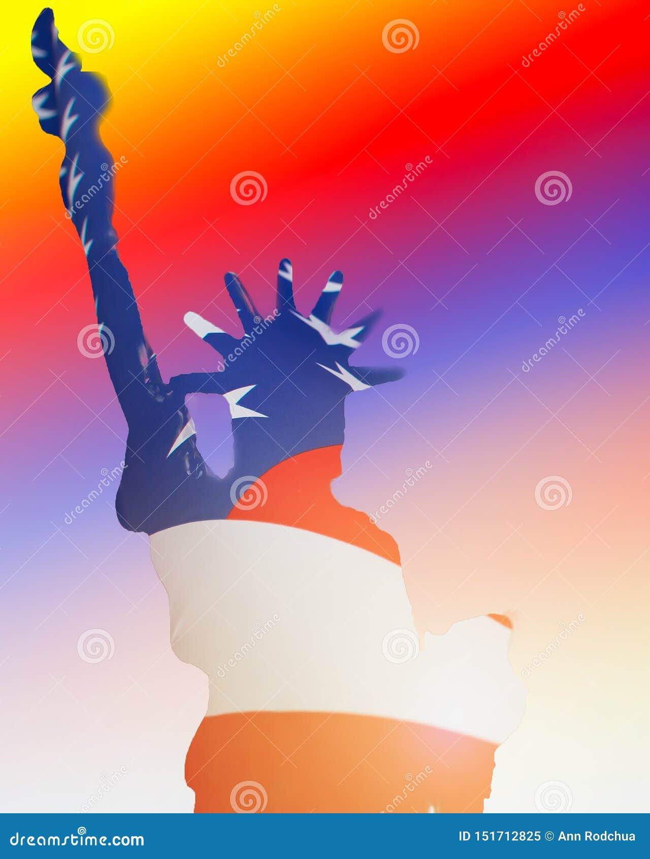 自由女神像和美国旗子两次曝光照片