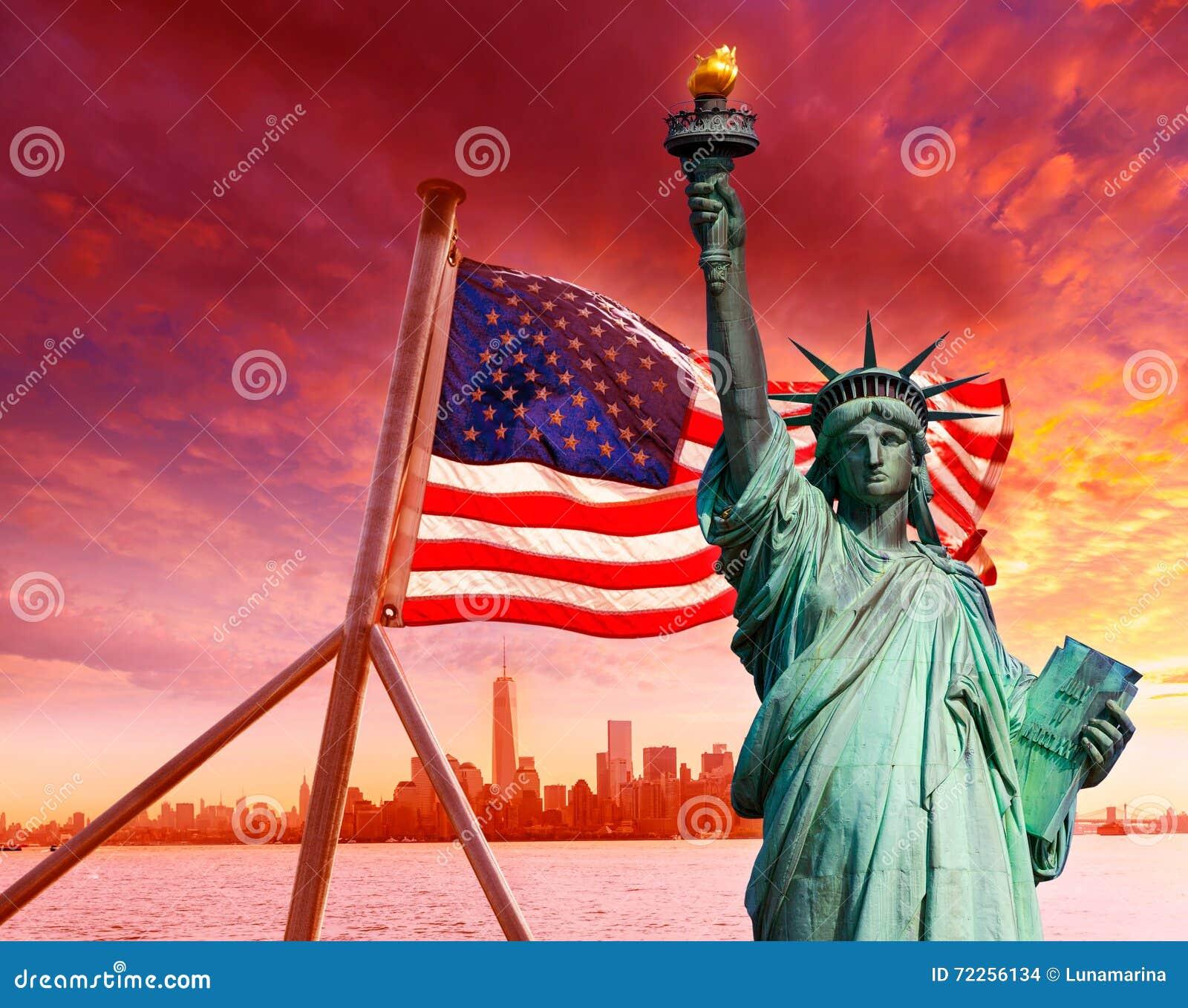 自由雕象纽约地平线美国国旗