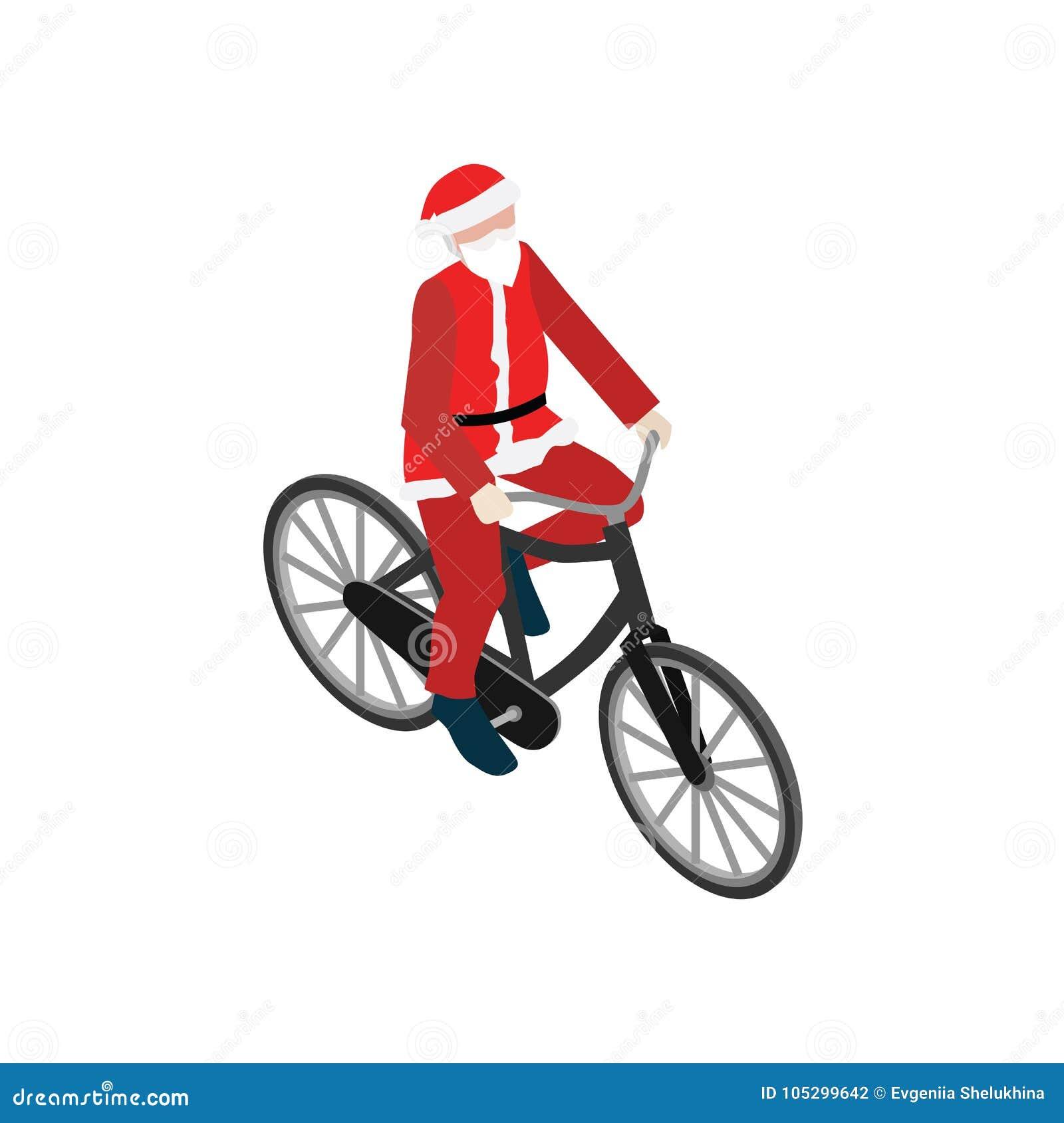 自行车的圣诞老人 平的3d等量传染媒介例证