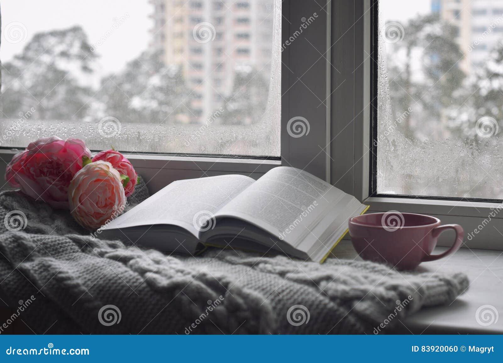 舒适家庭静物画:杯子热的咖啡、春天花和被打开的书与温暖的格子花呢披肩在窗台反对雪