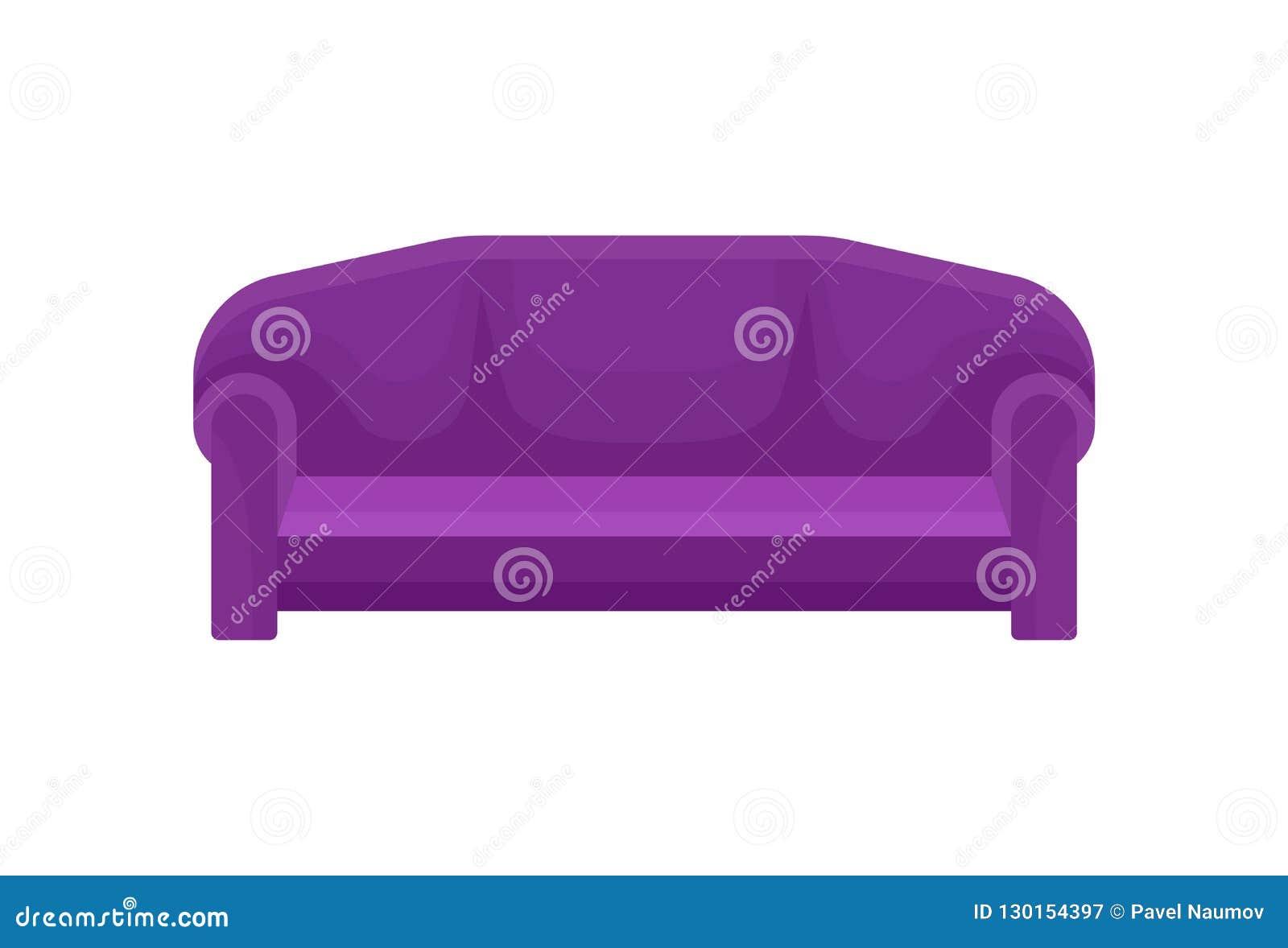 舒适的沙发,紫色长沙发,客厅家具在白色背景的传染媒介例证