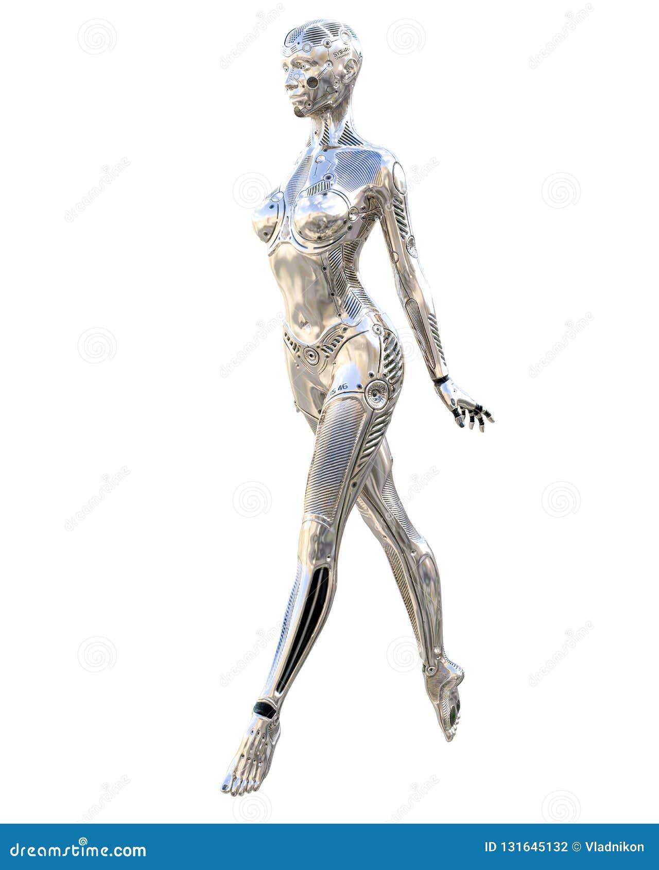 舞蹈机器人妇女 金属发光的银色droid 人工智能 概念性时尚艺术 现实3d回报例证