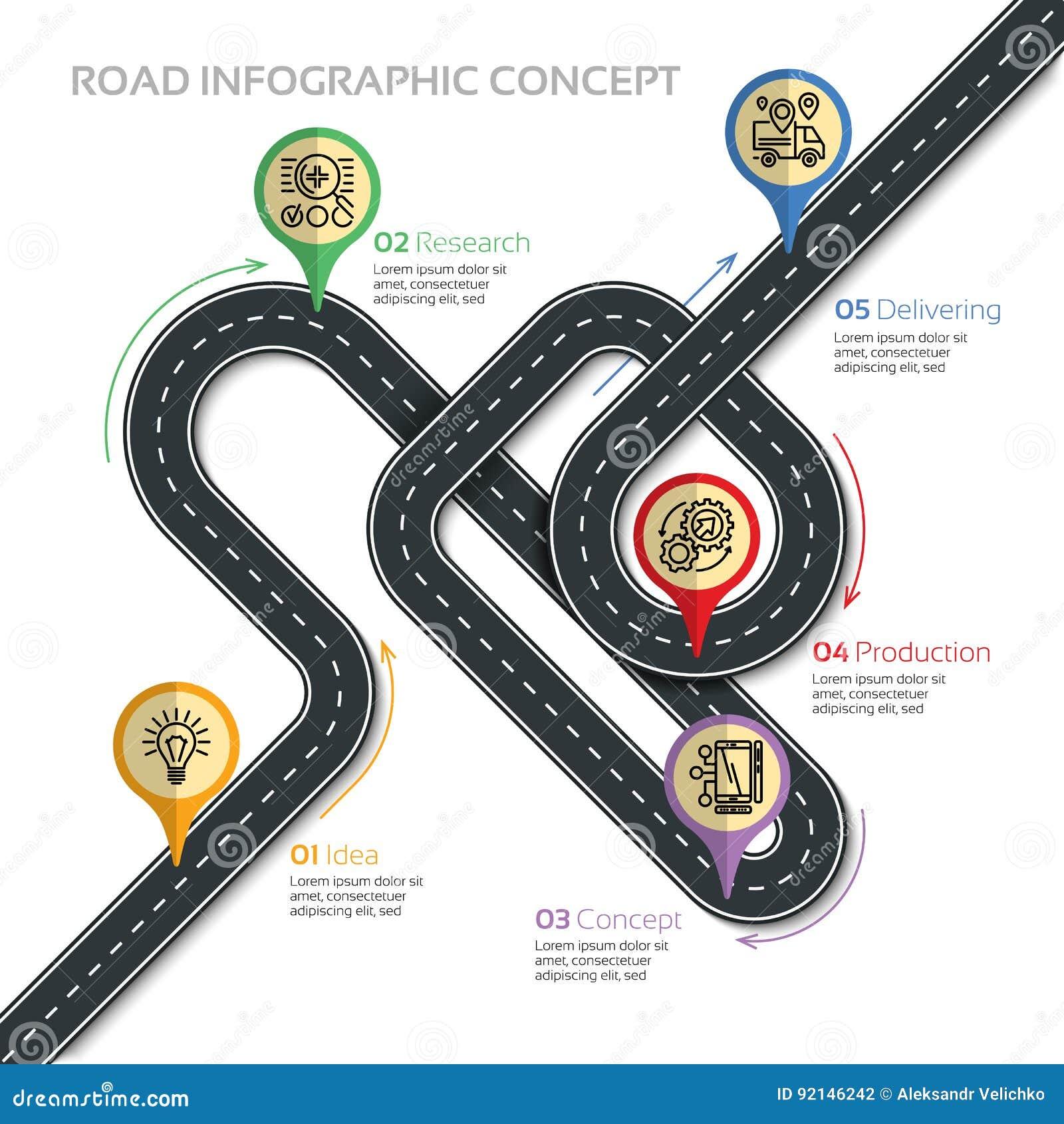航海传染媒介地图infographic模板 刺弯曲道路