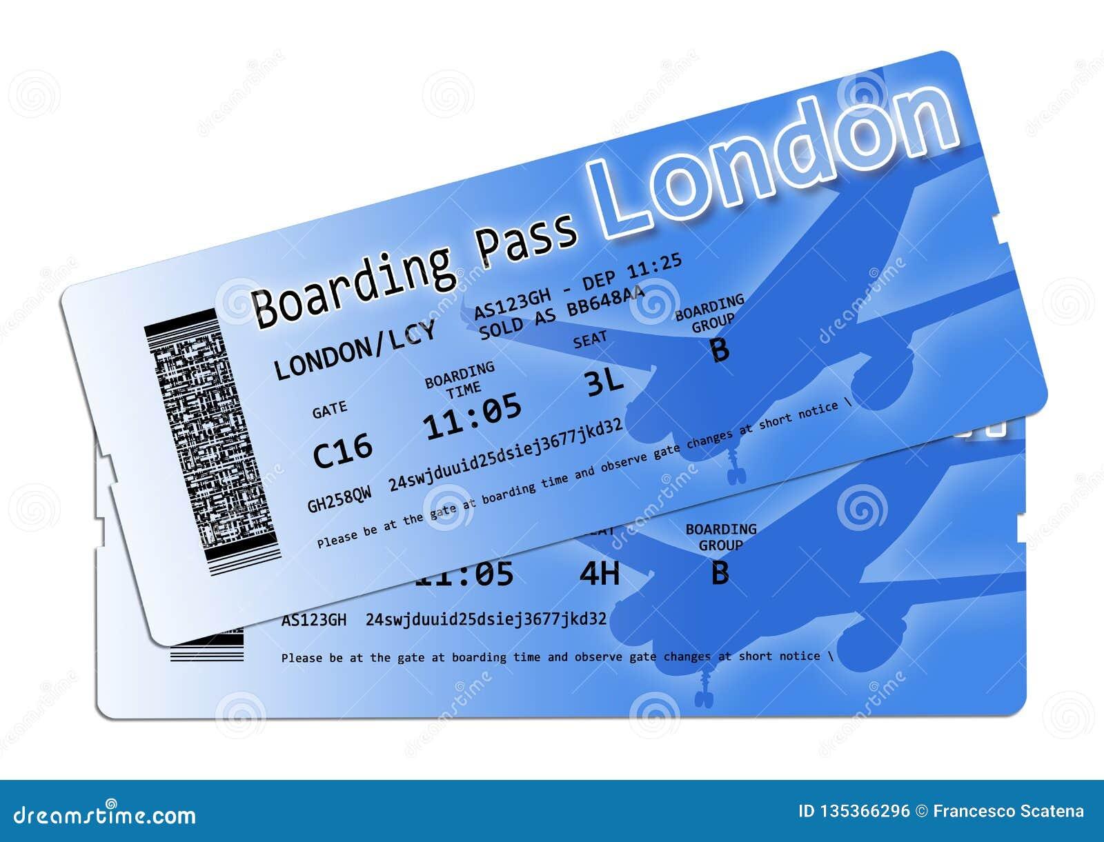 航空公司登机牌票向伦敦-图象的内容不完全被发明和包含在版权下