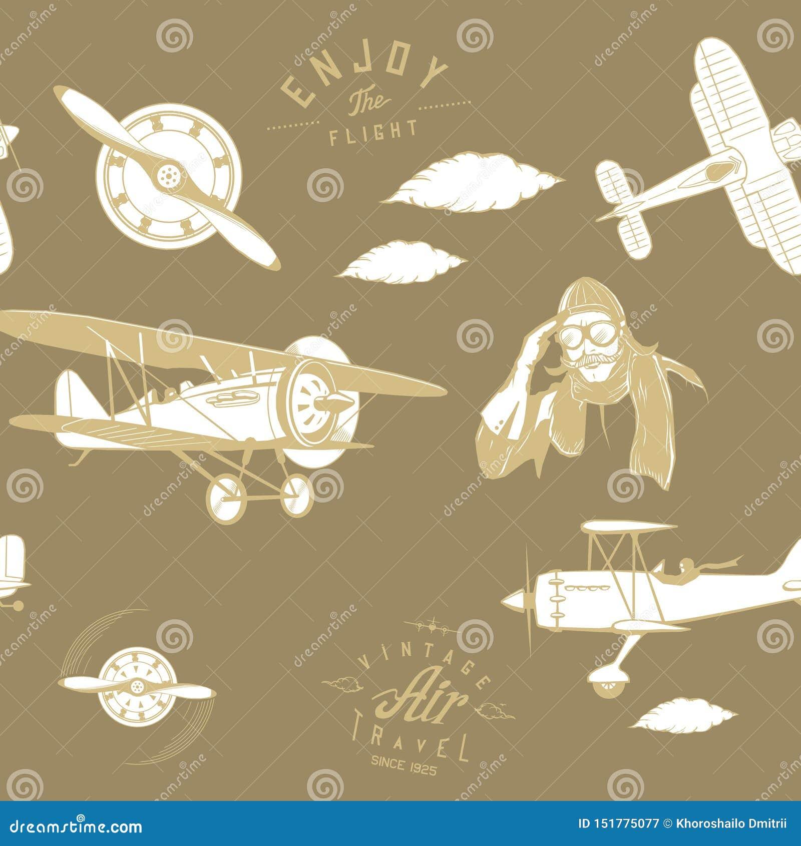 航空样式褐色无缝的组合图案减速火箭的葡萄酒