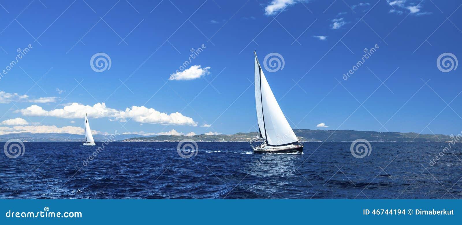 航行赛船会全景  豪华游艇行在小游艇船坞船坞的 自然