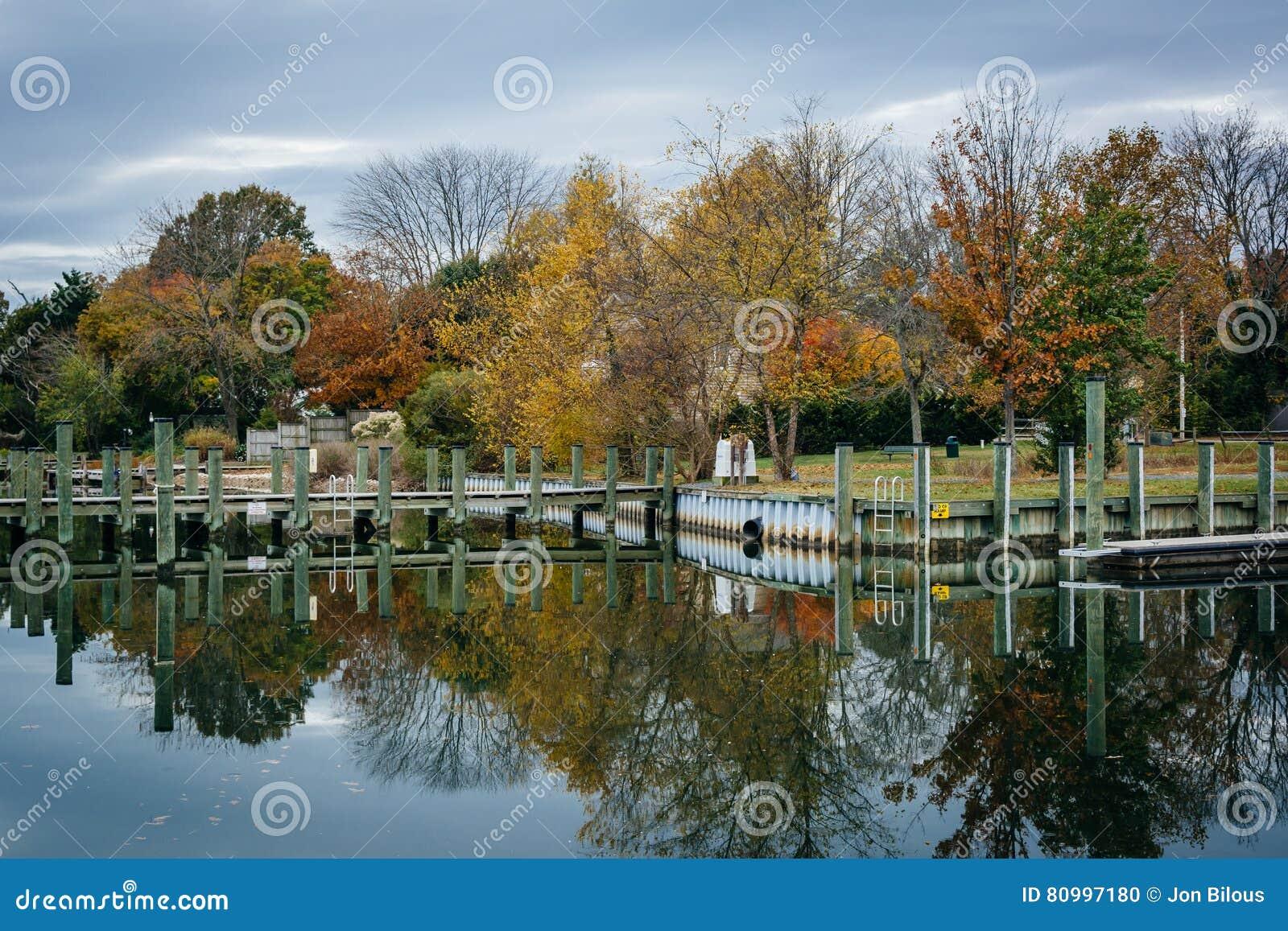 船坞和秋天颜色在橡木小河着陆,在纽科姆,在St附近