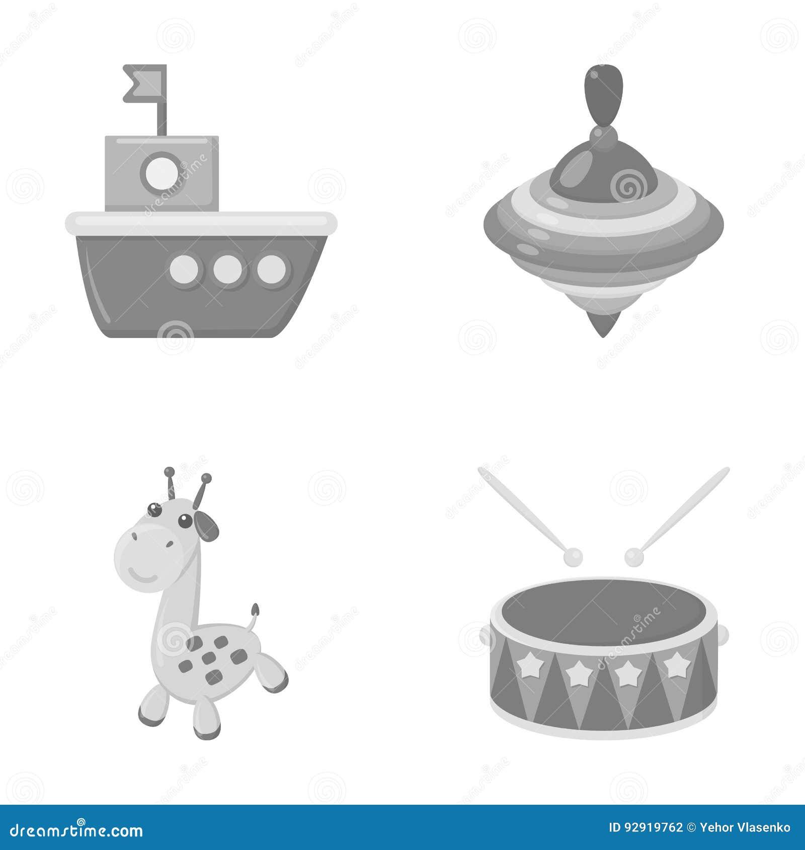 船, yule,长颈鹿,鼓 玩具设置了在单色样式传染媒介标志股票例证网的汇集象