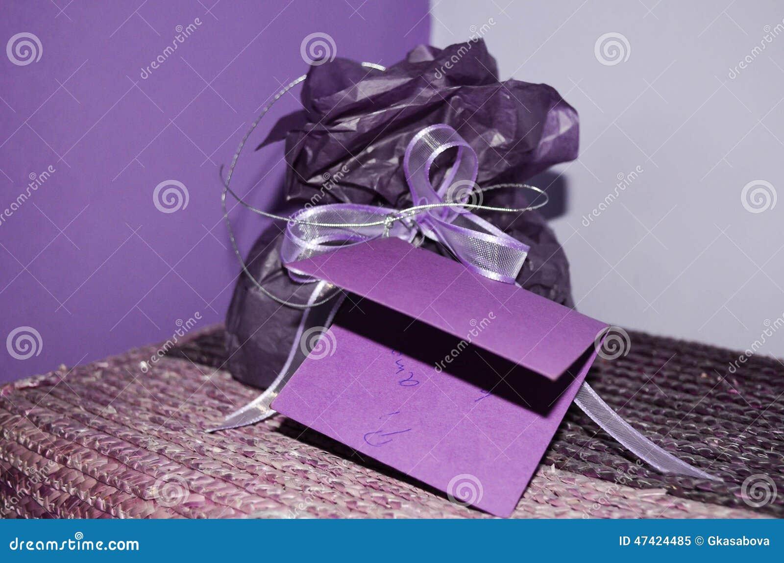 紫色假日手工制造当前卡片,圣诞节/礼物生日贺卡和紫色