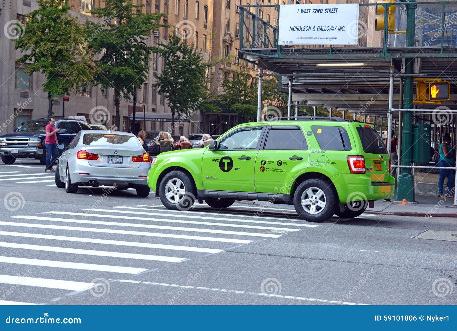 绿色博罗出租汽车在曼哈顿
