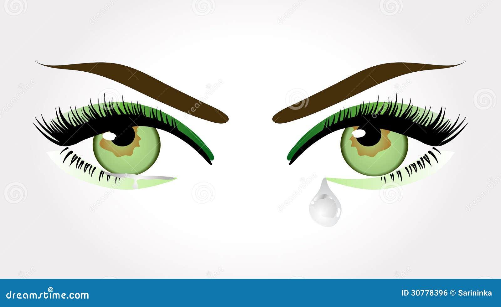 绿色哭泣的眼睛