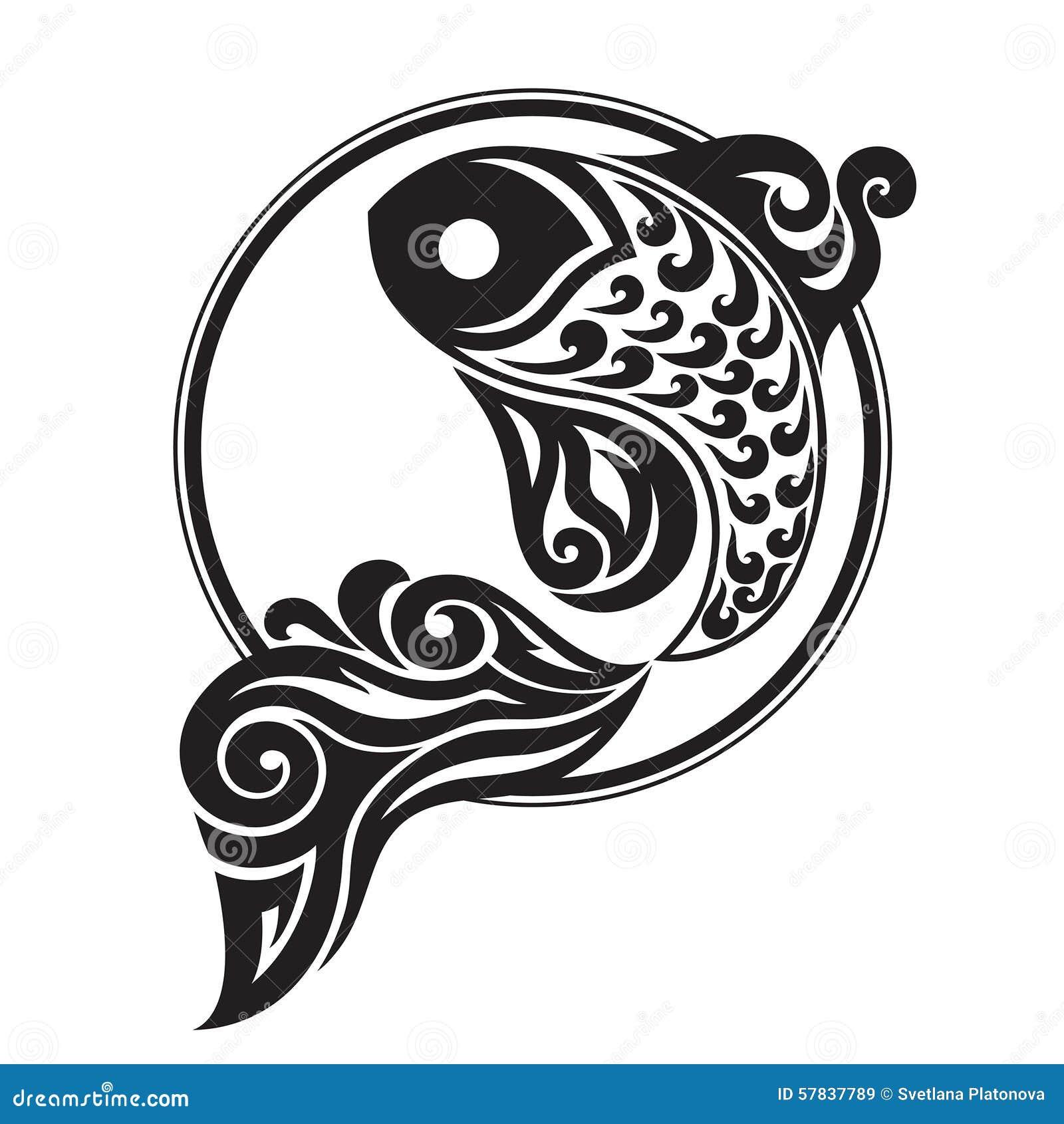 一条鱼的黑白图画在不同的背景的盘旋.图片