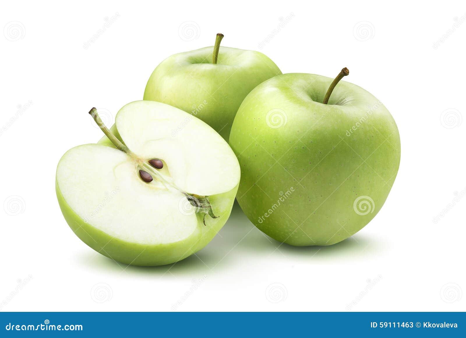 绿色在白色背景隔绝的苹果和一半