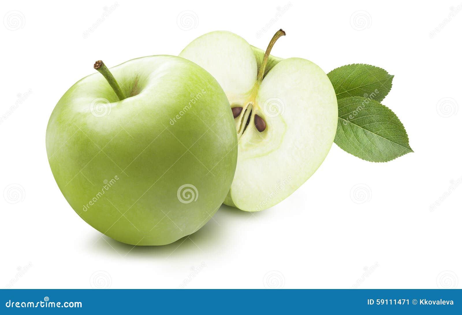 绿色在白色背景隔绝的苹果和暗藏的一半