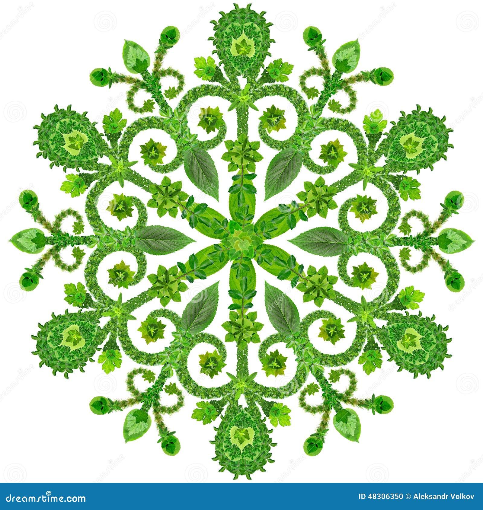 冬天雪花的标志它由绿色夏天叶子制成 被隔绝的手工制造拼贴画.