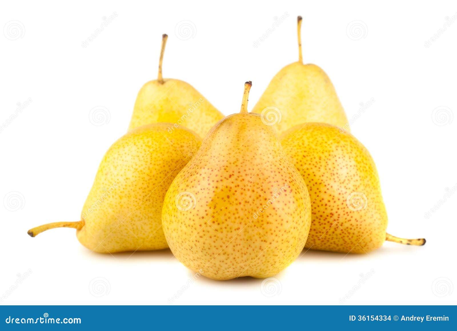 黄色网址黄色笑�_在白色背景的五个黄色成熟梨.