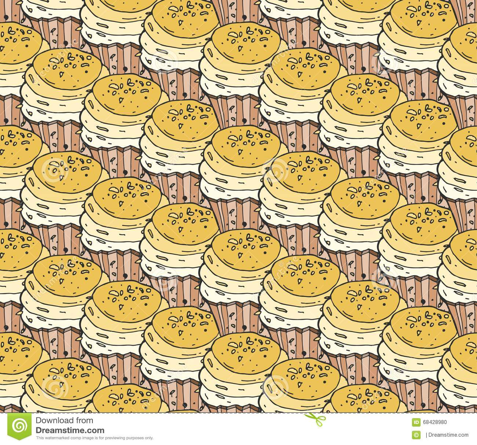 黄色手拉杯形蛋糕甜点无缝的乱画传染媒介的样式 葡萄酒面包店背景