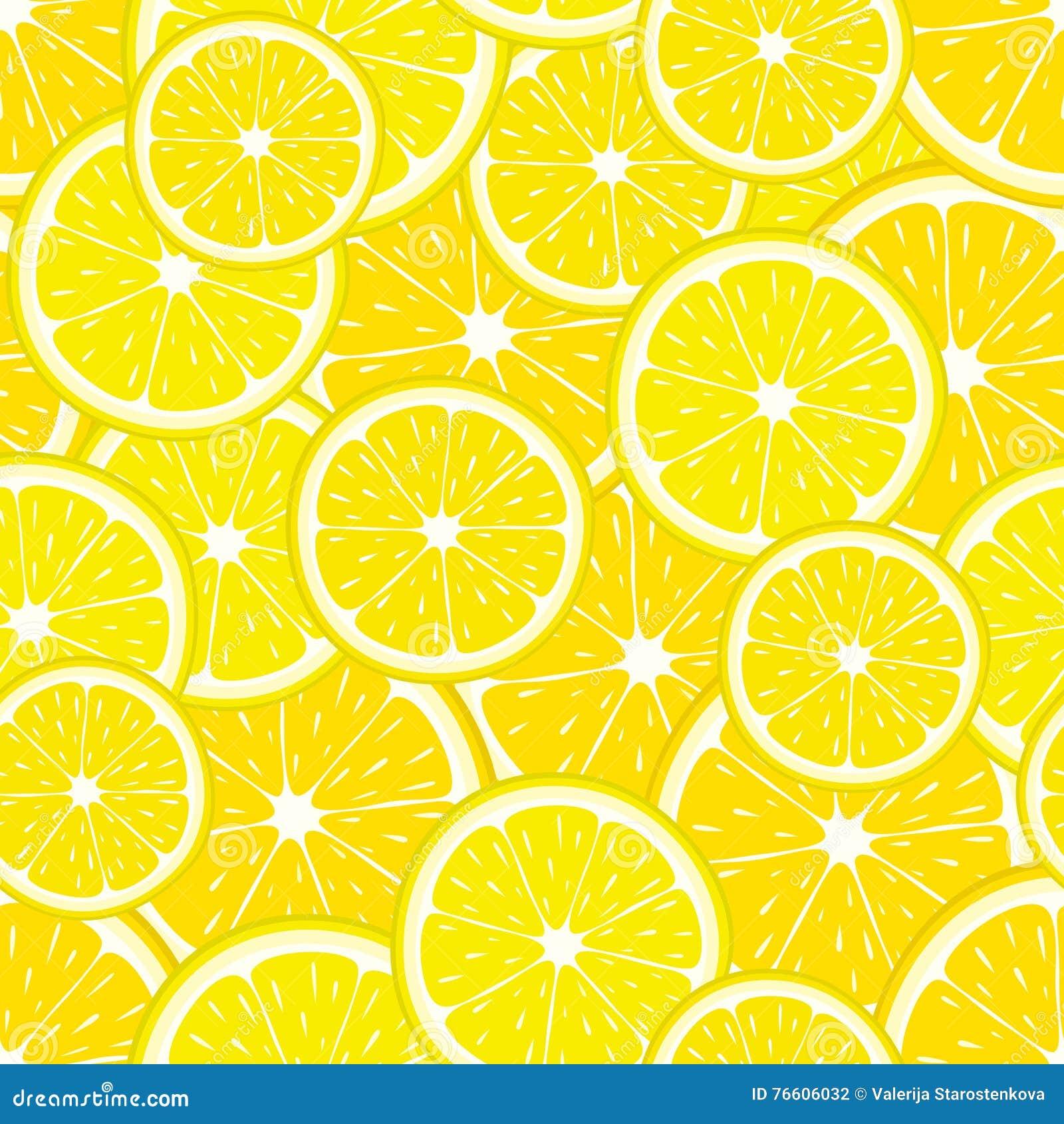 黄色柠檬切片的传染媒介无缝的样式 柑桔例证