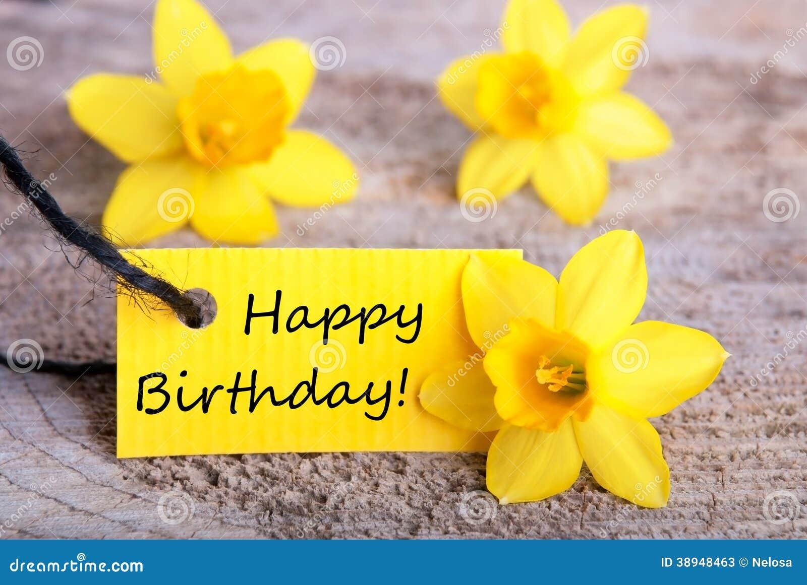 黄色标签与生日快乐