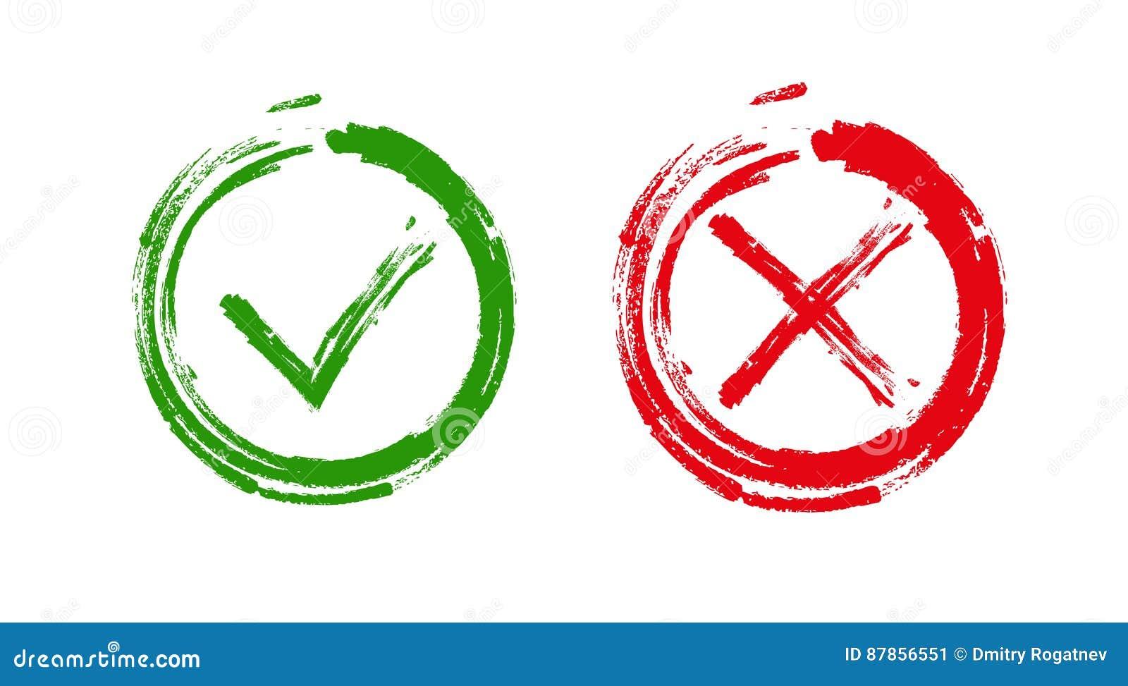 绿色检查号好和红色X象,