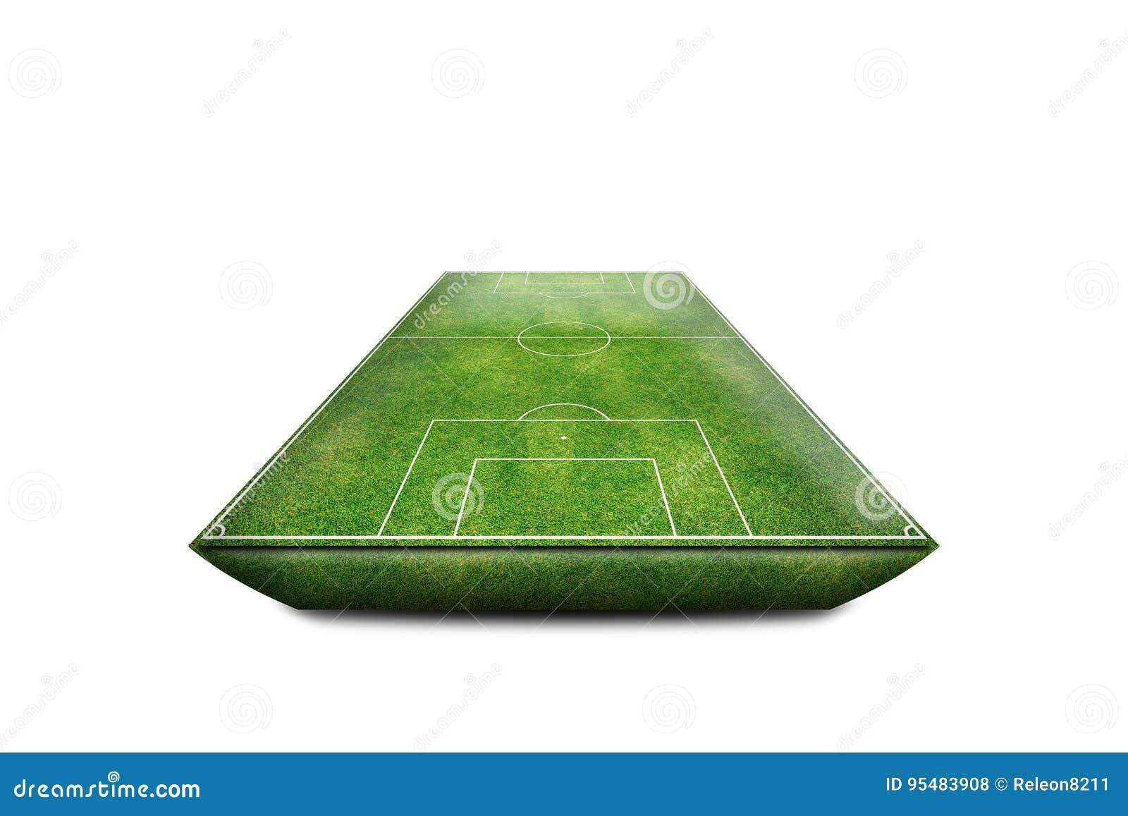 绿色橄榄球场领域3D孤立