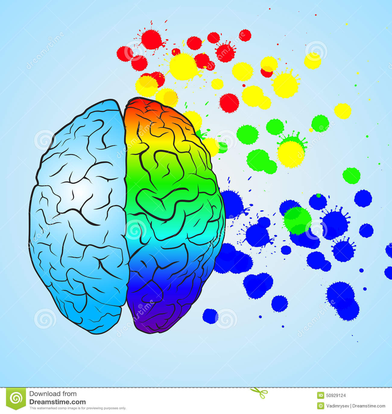 左脑��!$_色的左脑和右脑 3d概念被回报的例证图象 eps10向量.