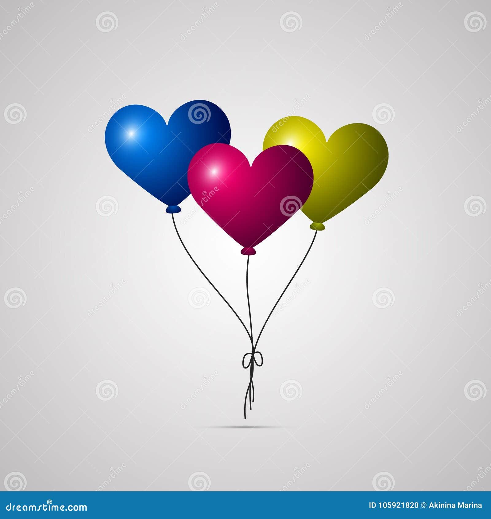 色的平的象,与阴影的传染媒介设计 套飞行生日心脏气球