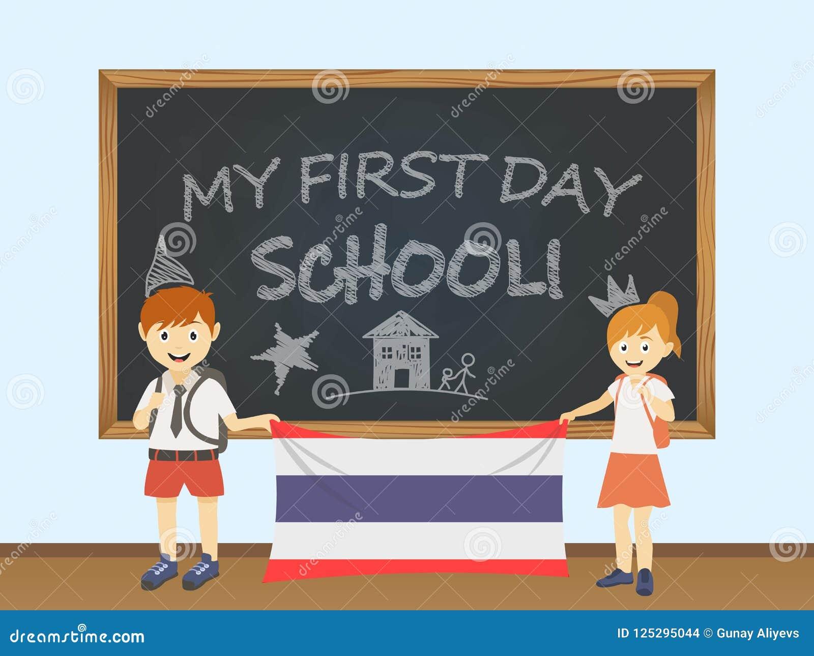 色的微笑的孩子,男孩和女孩,拿着在校务委员会例证后的一面全国泰国旗子 传染媒介动画片illust
