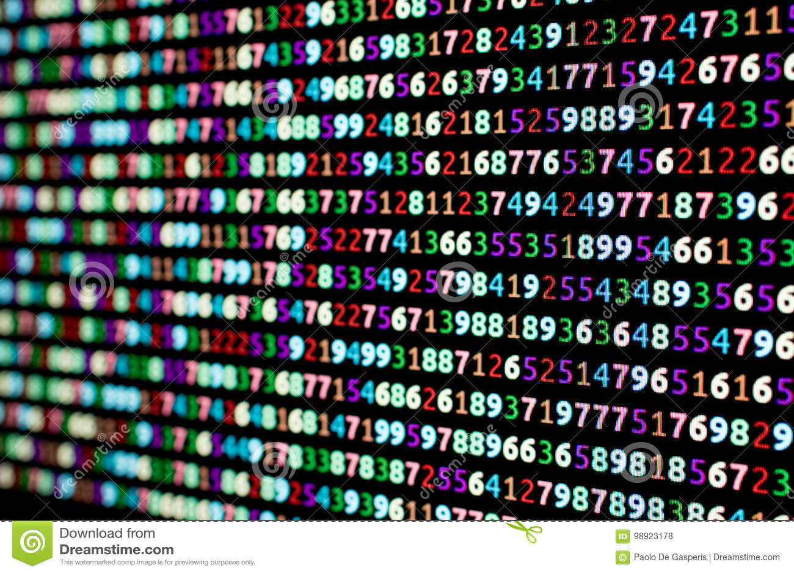 色的数字系列在一台计算机显示器的与在的迷离