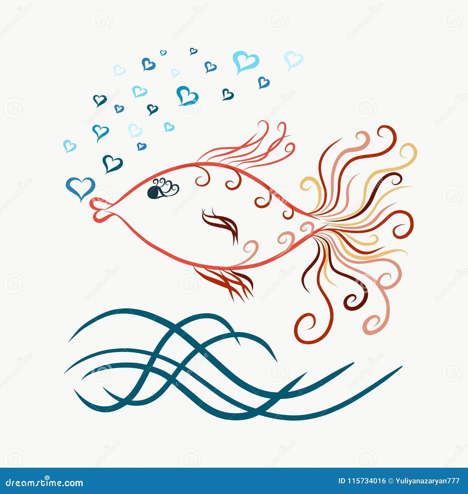 色的游泳的优美的金鱼,与漩涡, b的被绘的线