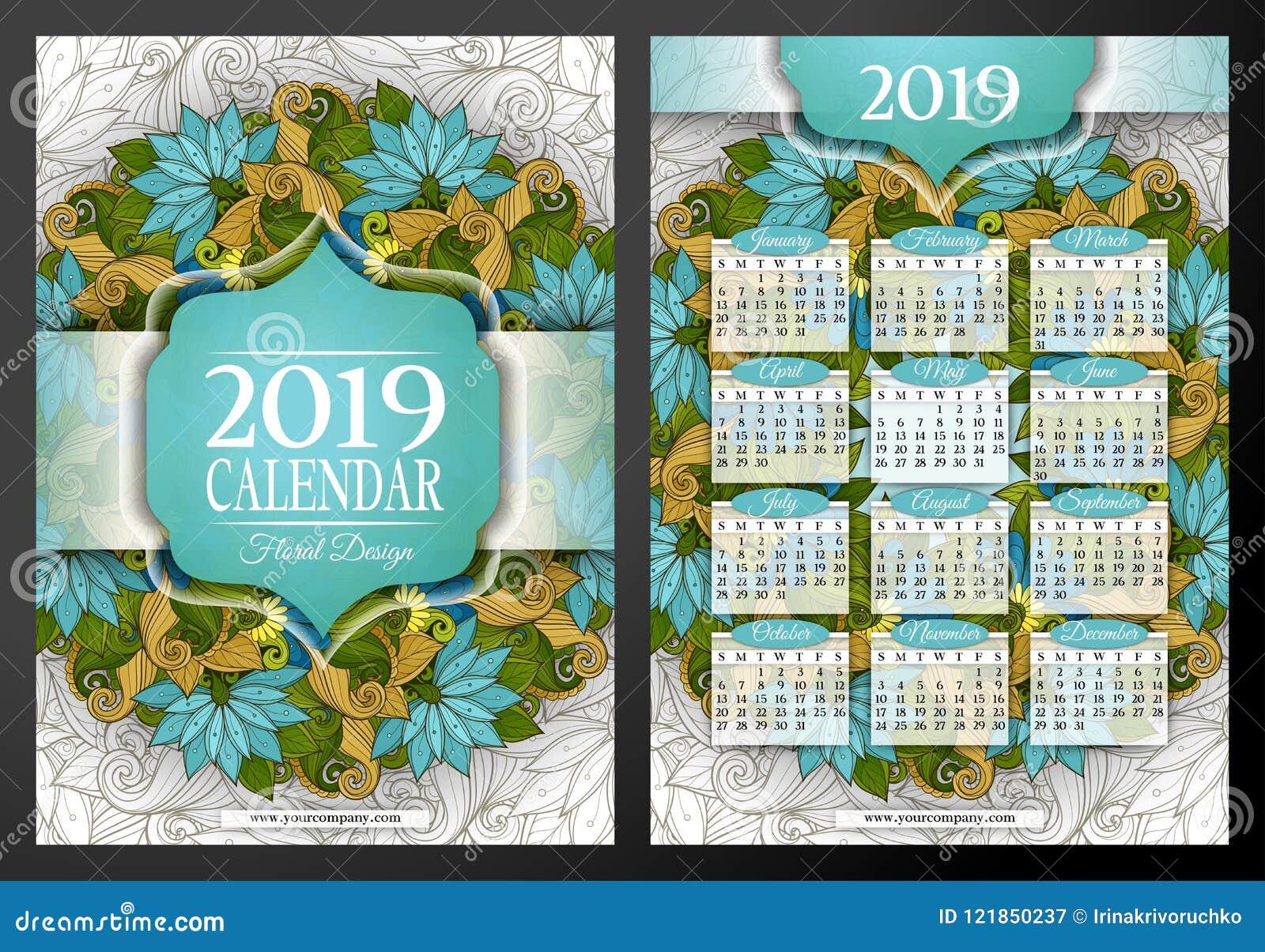 色的2019年日历长方形模板,两面图片