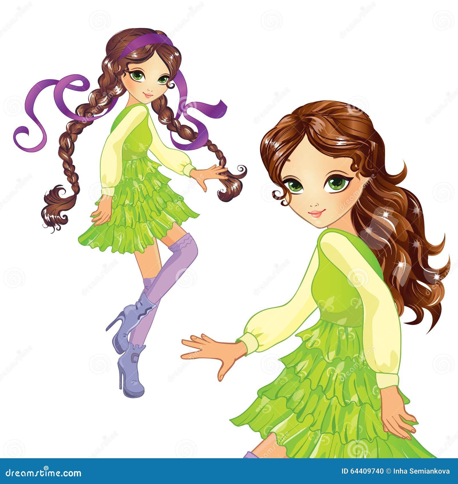 绿色礼服跳舞的女孩图片