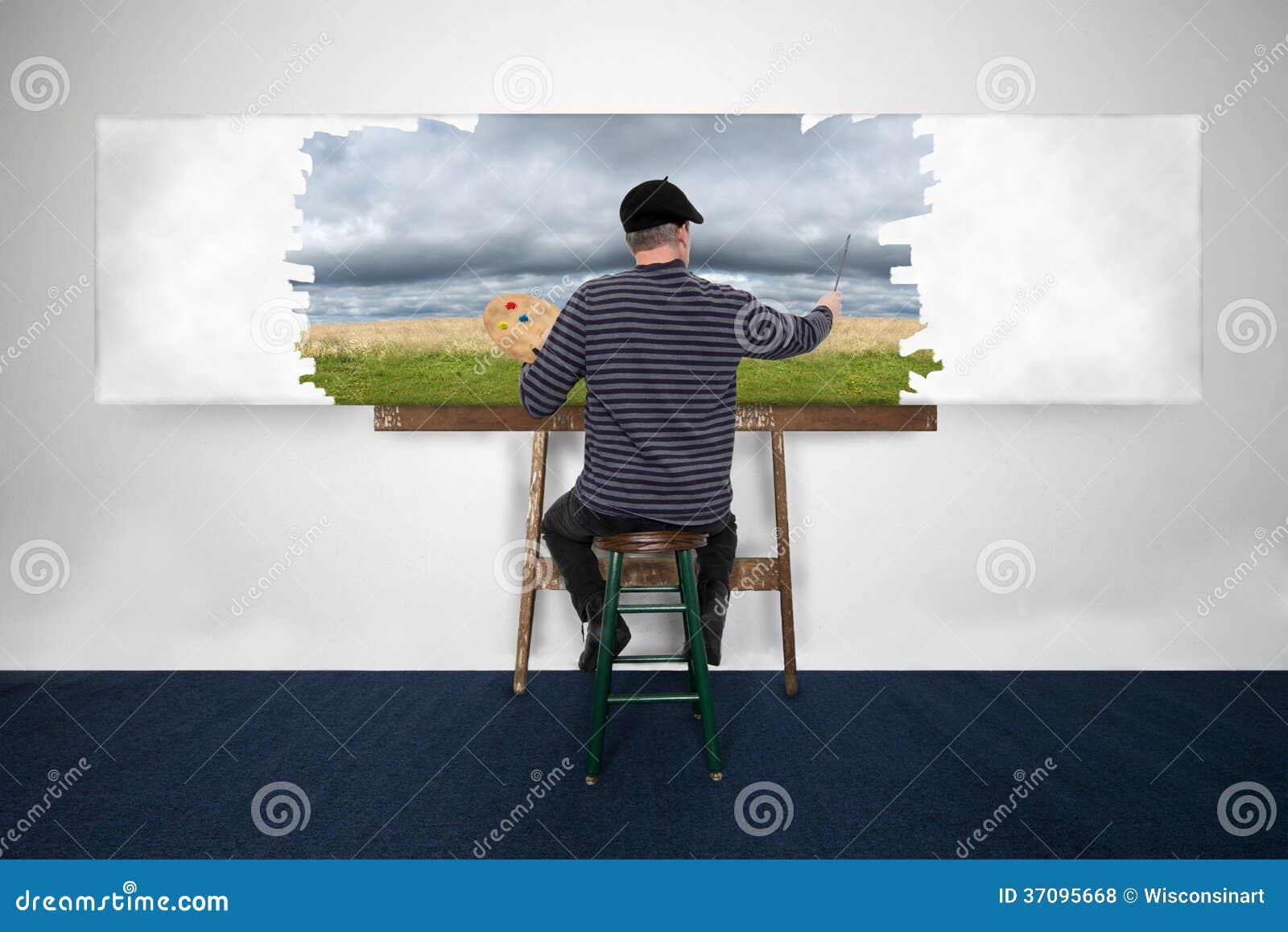 艺术家和画家油漆在白色帆布的油漆风景
