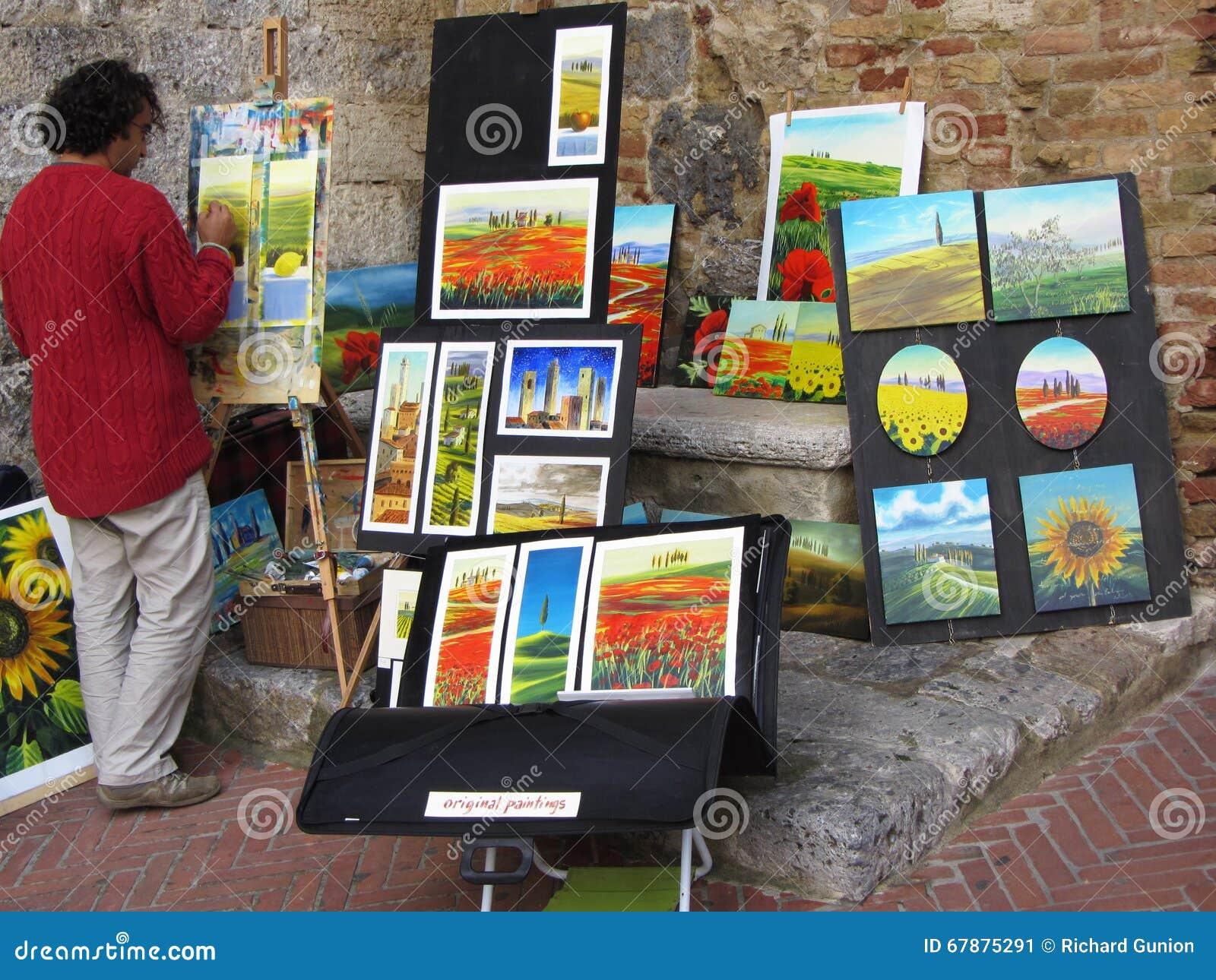 艺术家在工作在圣吉米尼亚诺意大利