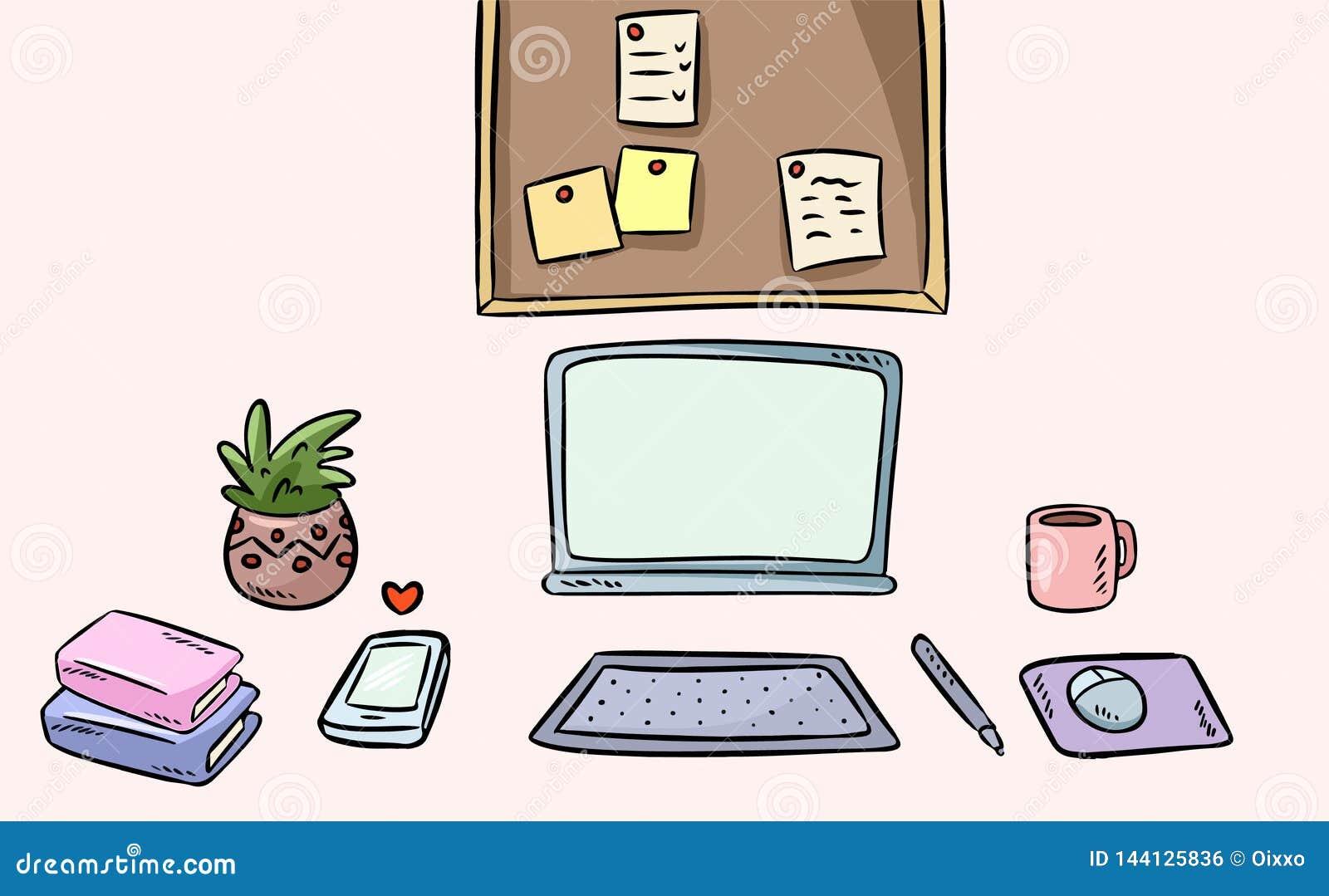艺术家工作区内部 动画片样式自由职业者的家庭办公室书桌